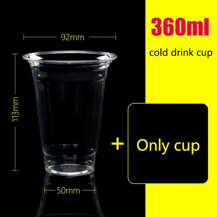 360ml disposable cold drink pet drink glass juice bottle milk tea cup custom 1000 sets