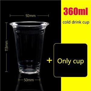 360ml disposable cold drink pet drink glass juice bottle milk tea cup custom 1000 sets