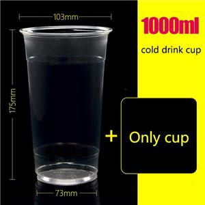 1000ml disposable juice cup pet beverage cup cold drink juice bottle juice cup custom logo1000 sets