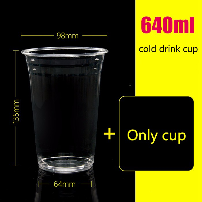 640ml disposable tea cup pet beverage cup juice cup cold drink juice bottle custom 1000 sets