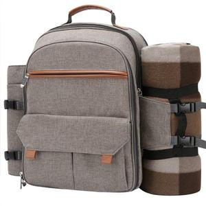 Picnic Backpack For 4 With Blanket