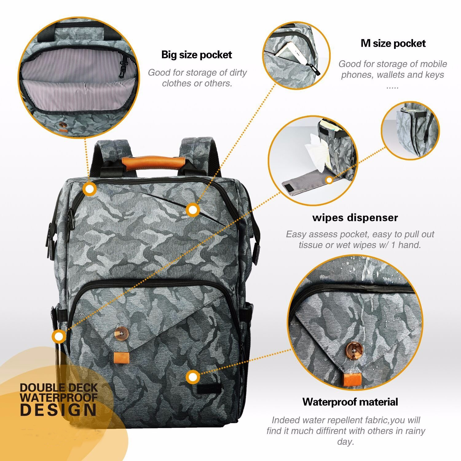 Waterproof Diaper Bag Manufacturers, Waterproof Diaper Bag Factory, Supply Waterproof Diaper Bag