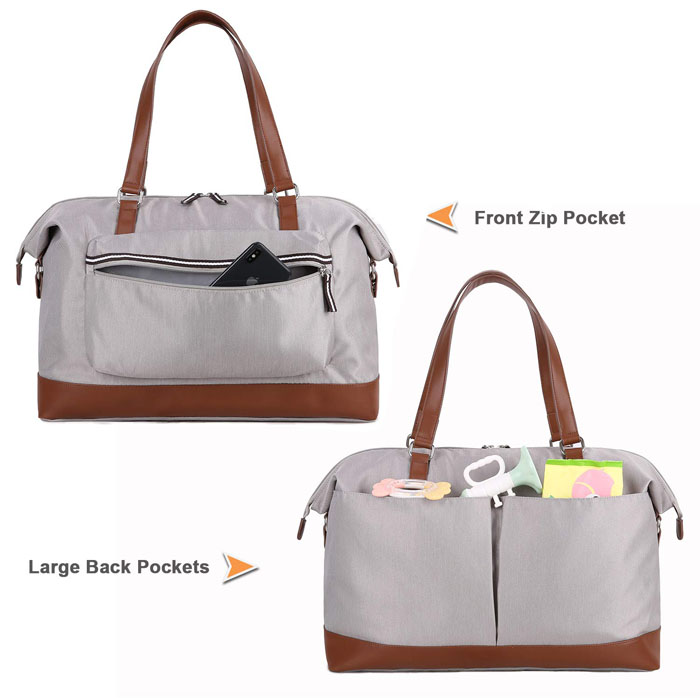 Tote diaper bag leather bottom