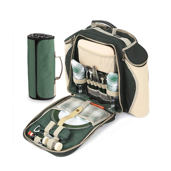 2 Person Picnic Backpack with Blanket