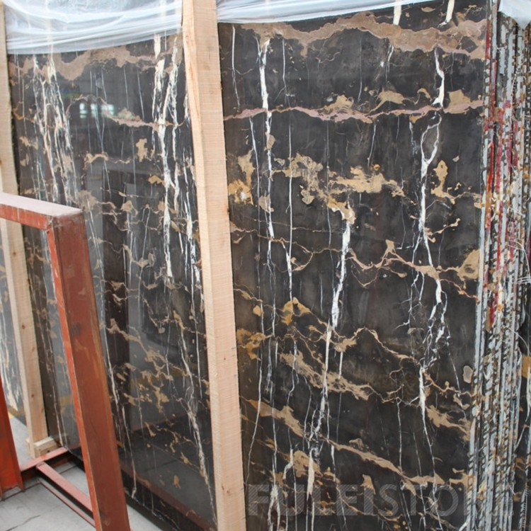 Pakistan Portoro Black and Gold Marble Slabs