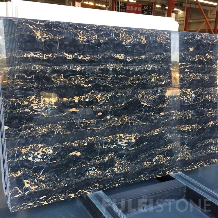 Italy Portoro Black Marble Slabs