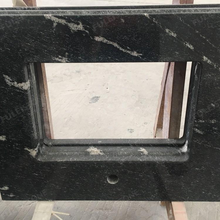 Standard Snow Grey Black Granite Vanity Top