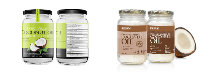 Coconut oil nutrition label