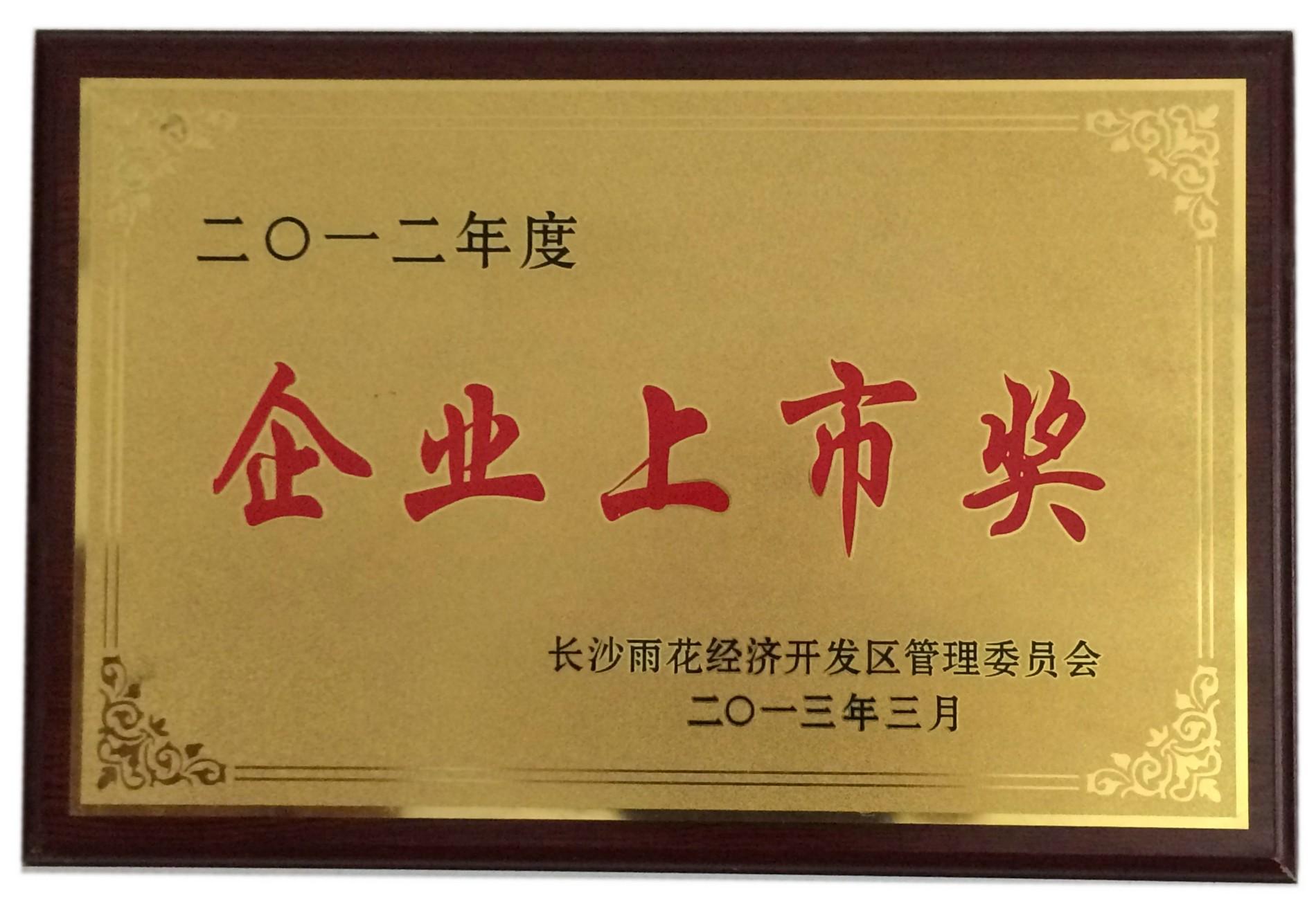High-technology enterprise certificate,Enterprise listing Award,Economic operation Contribution Award,Demonstration enterprise,Hunan Famous trademark,