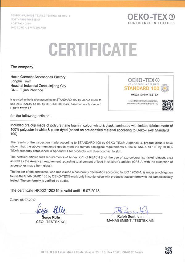 ISO9001 OEKO-TEX® ATTESTATION