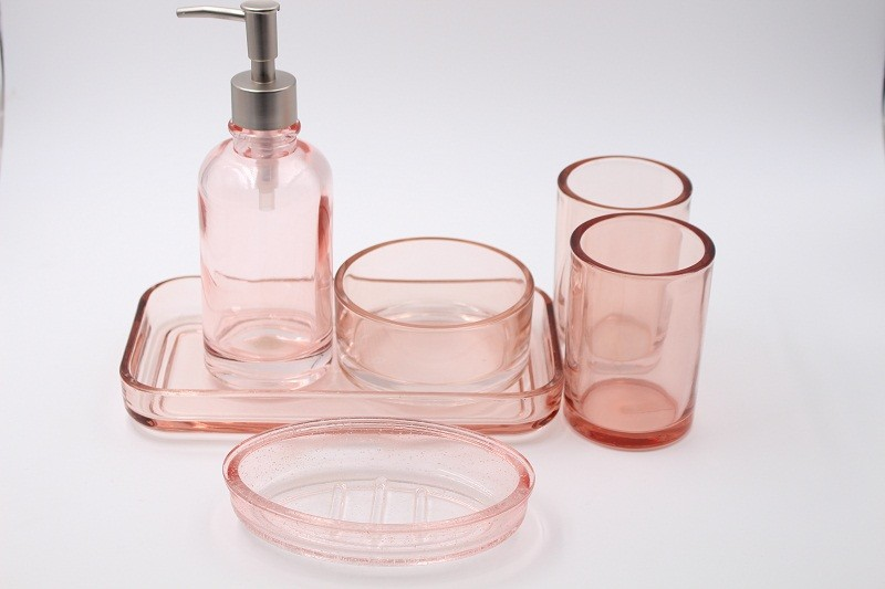 Supply Pink Tanning Glass Bathroom Accessories Five Sets Factory Quotes Oem