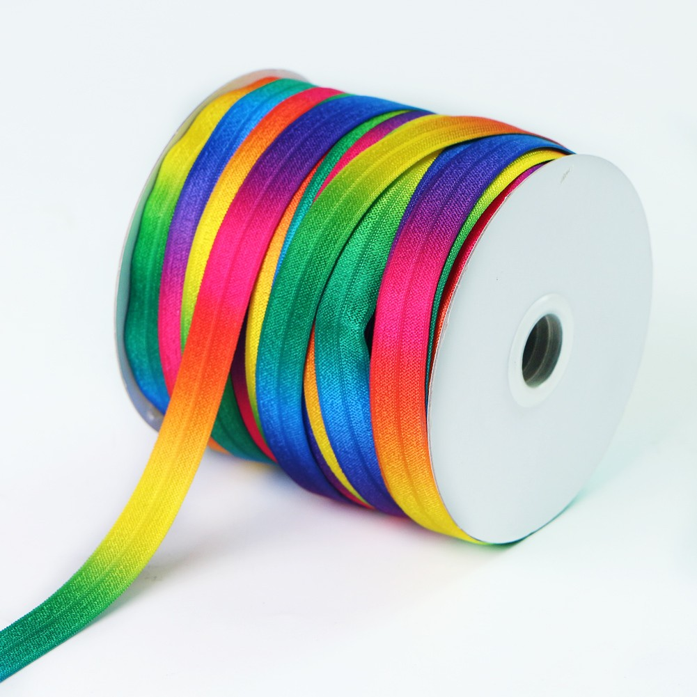 Single Face Elastic Rainbow Ribbon