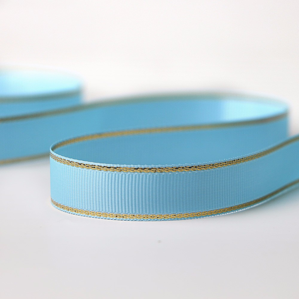 Gold Silver Woven Edge Grosgrain Ribbon