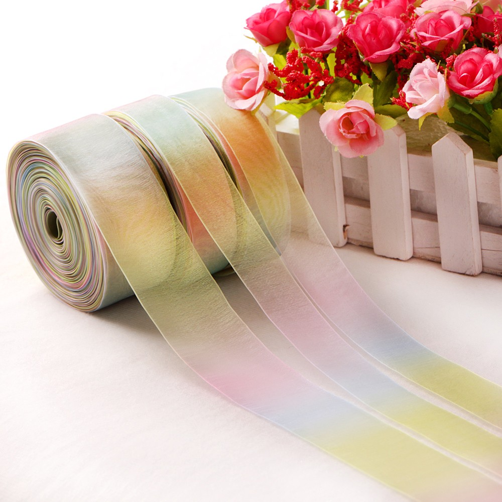 Fashion Transparency Organza Rainbow Ribbon