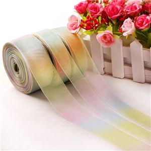 Mode Transparantie Organza Rainbow Ribbon