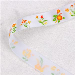 Floral printed satin ribbon in stock