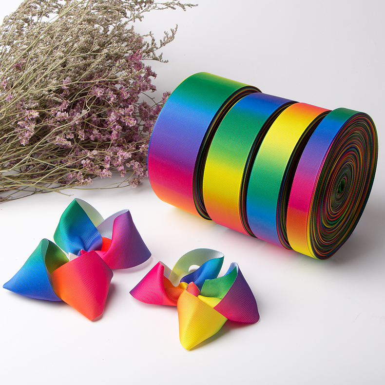 Wholesale Multicolor Gradient Rainbow Grosgrain Ribbon Manufacturers, Wholesale Multicolor Gradient Rainbow Grosgrain Ribbon Factory, Supply Wholesale Multicolor Gradient Rainbow Grosgrain Ribbon