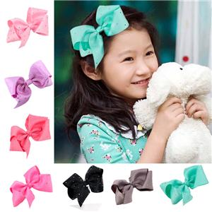 Custom Wholesale Solid Grosgrain Girl Hair Bow With Rhinestone