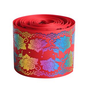 Rich Peony Flower Floral Printed Grosgrain Ribbon