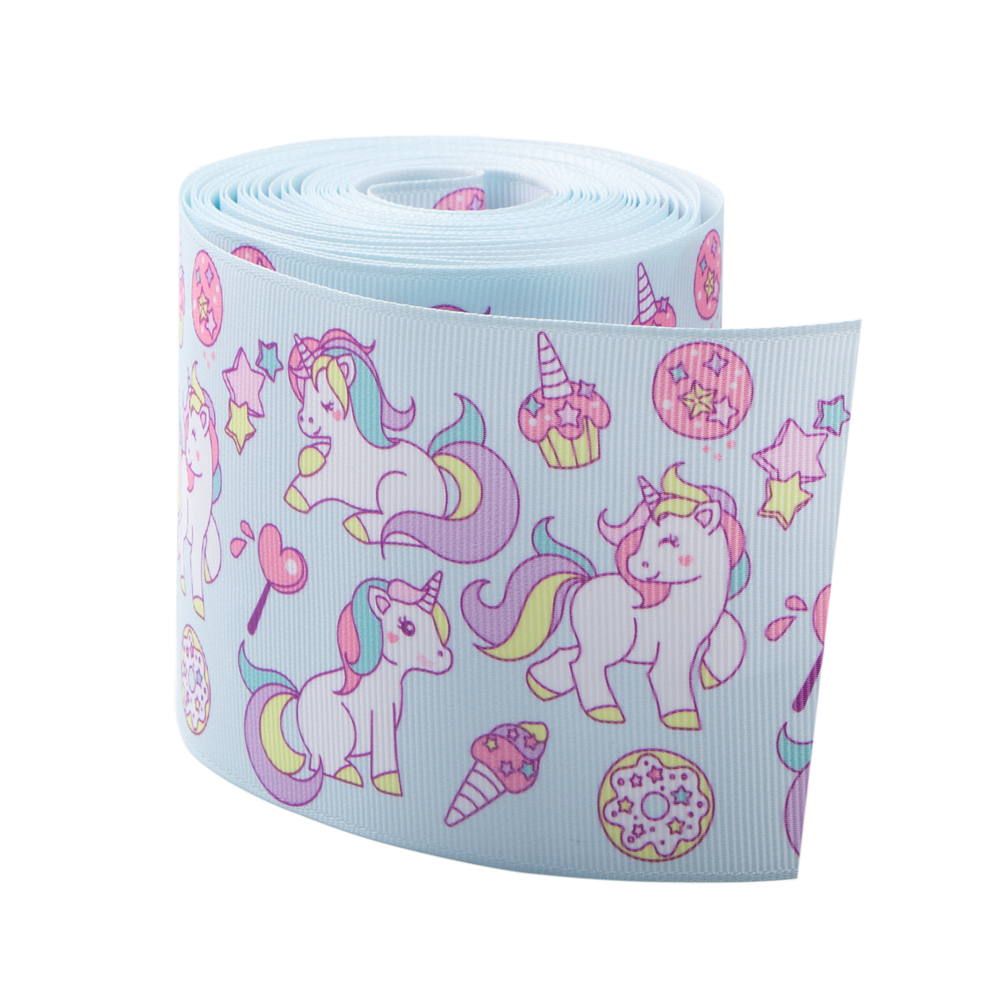 Wholesale 75mm Unicorn Princess Printed Grosgrain Ribbon