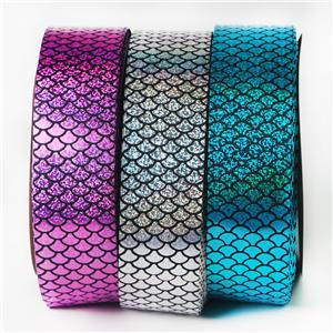 Custom Wholesale Mermaid Scale Holographic Printed Grosgrain Ribbon