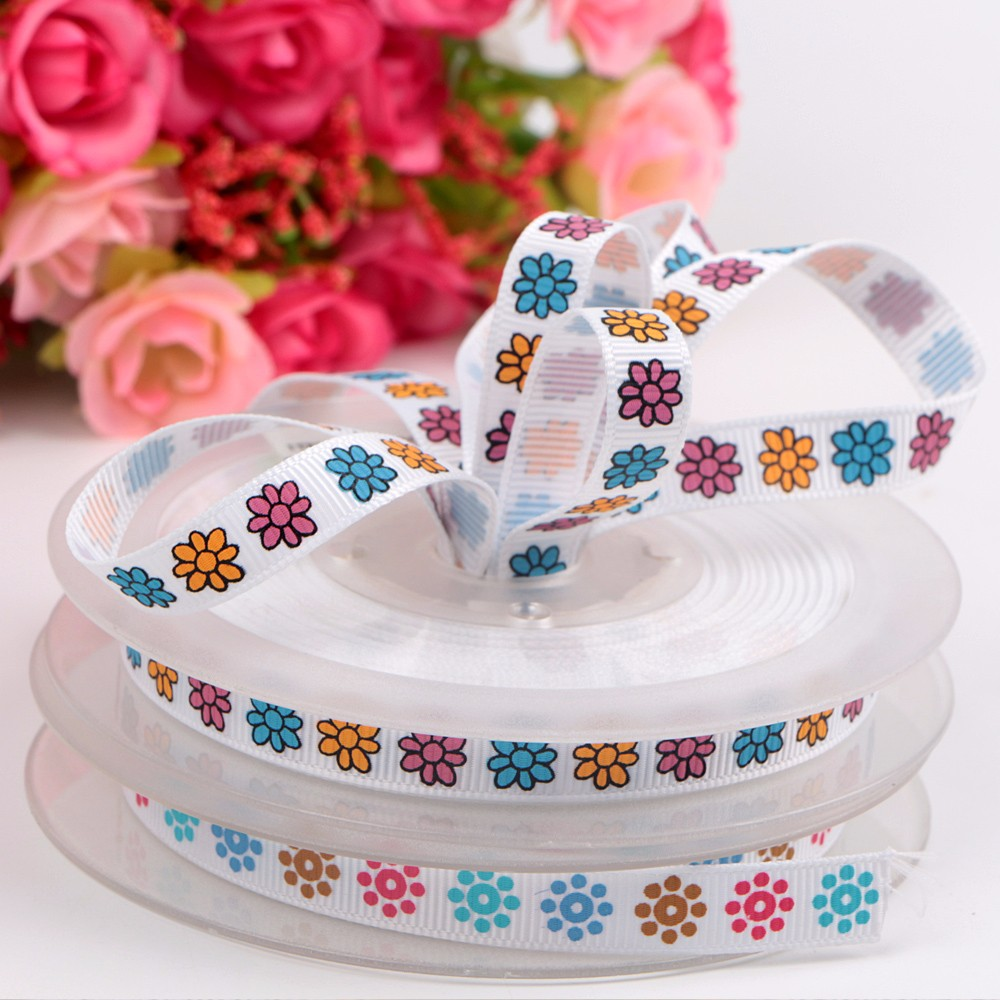 1mm Custom Printed Flower Stain and Grosgrain Ribbon