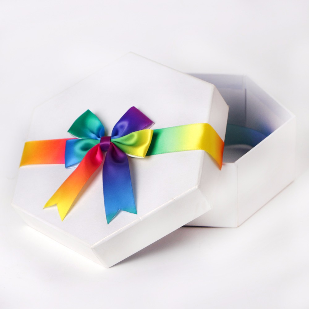 단일 측면 무지개 컬러 리본 보우 선물 상자 포장