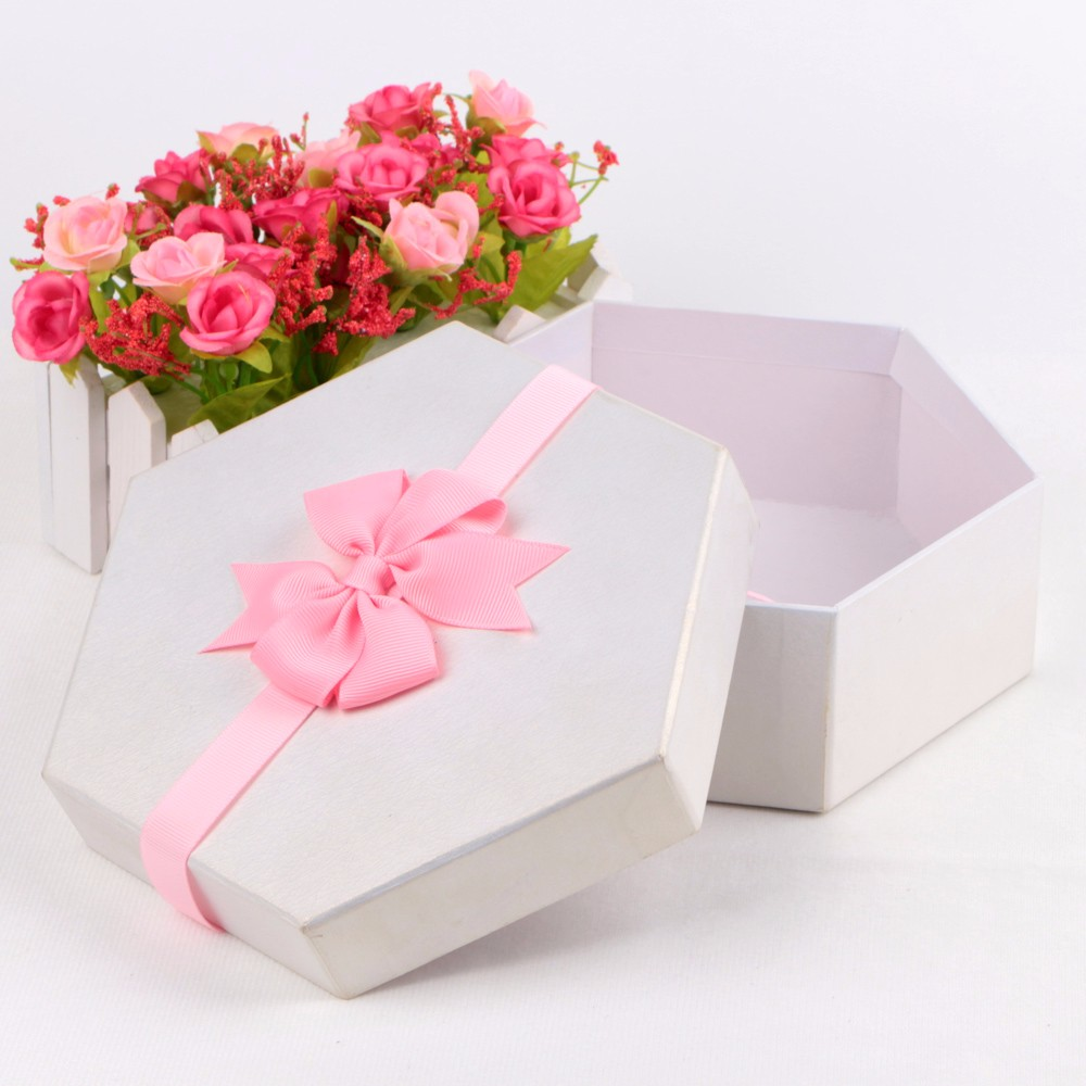 Custom pink ribbon bows grosgrain ribbon packaging boxes ribbon