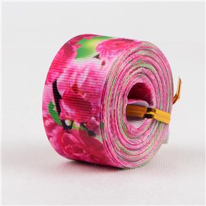 Cinta de grosgrain de varios colores impresa con diseños florales.