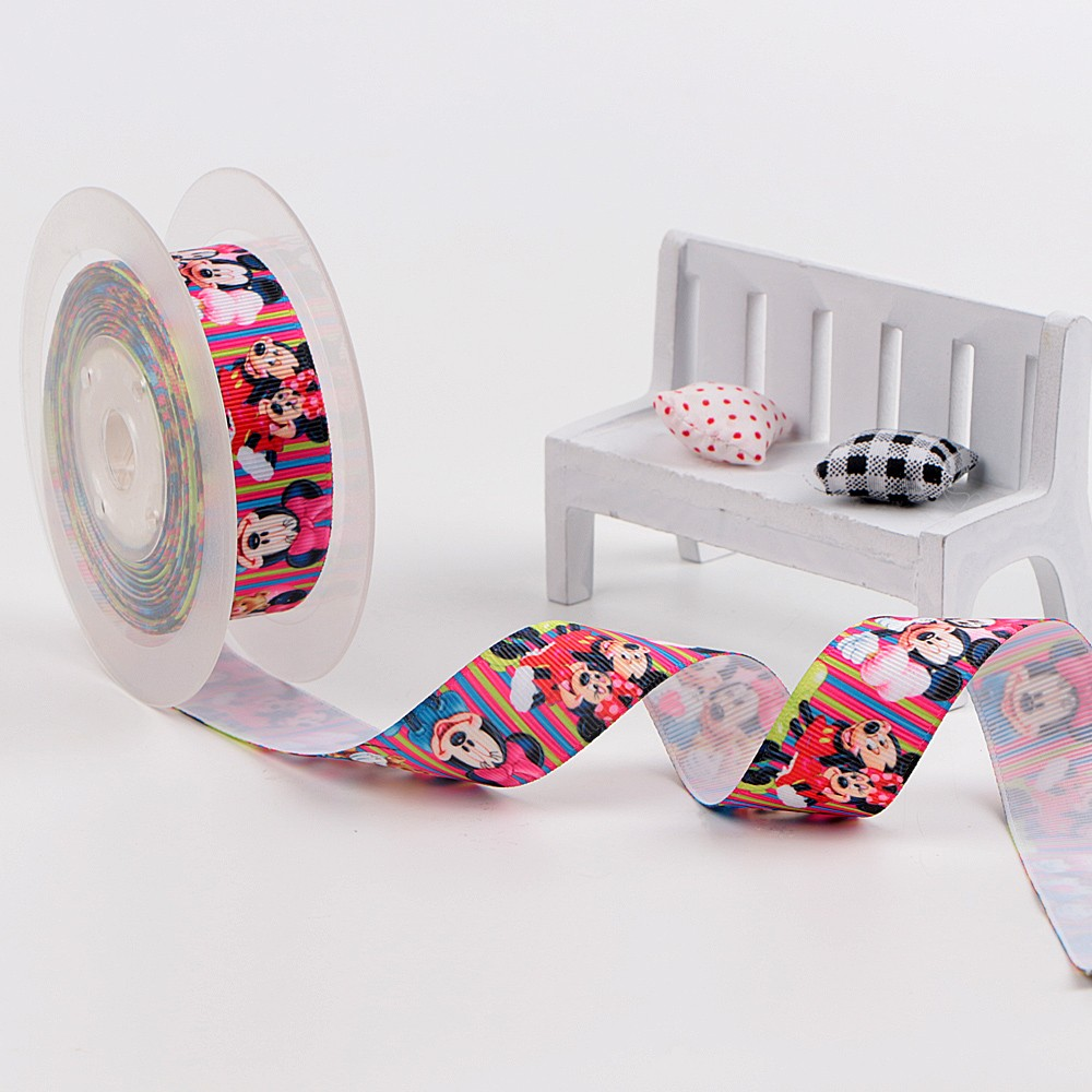Roll packing single face printed ribbon with mickey pattern