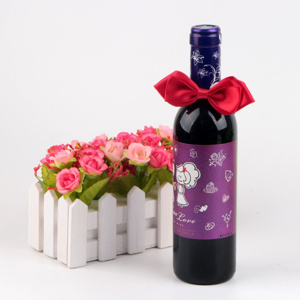 Satin ribbon packaging ribbon bow wine bottle packing and decoration