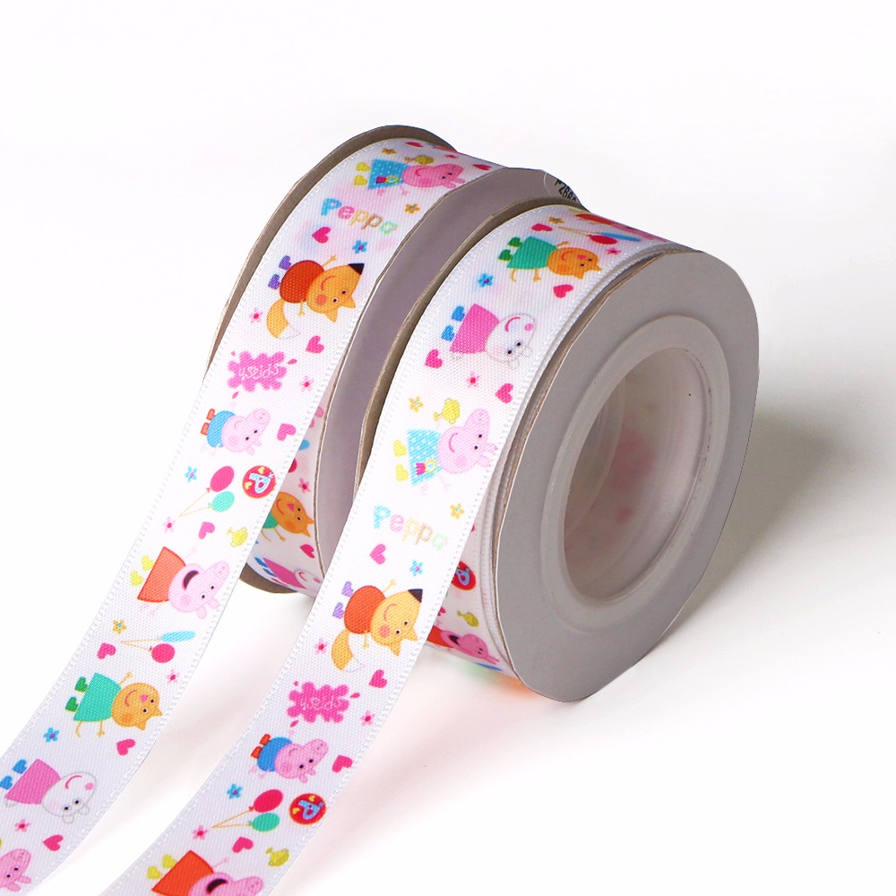 Peppa Pig Cartoon Pattern Printed Satin and Grosgrain Ribbon