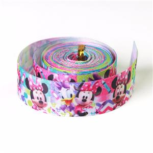 Disney pattern printed heat transfer printing grosgrain ribbon roll packed