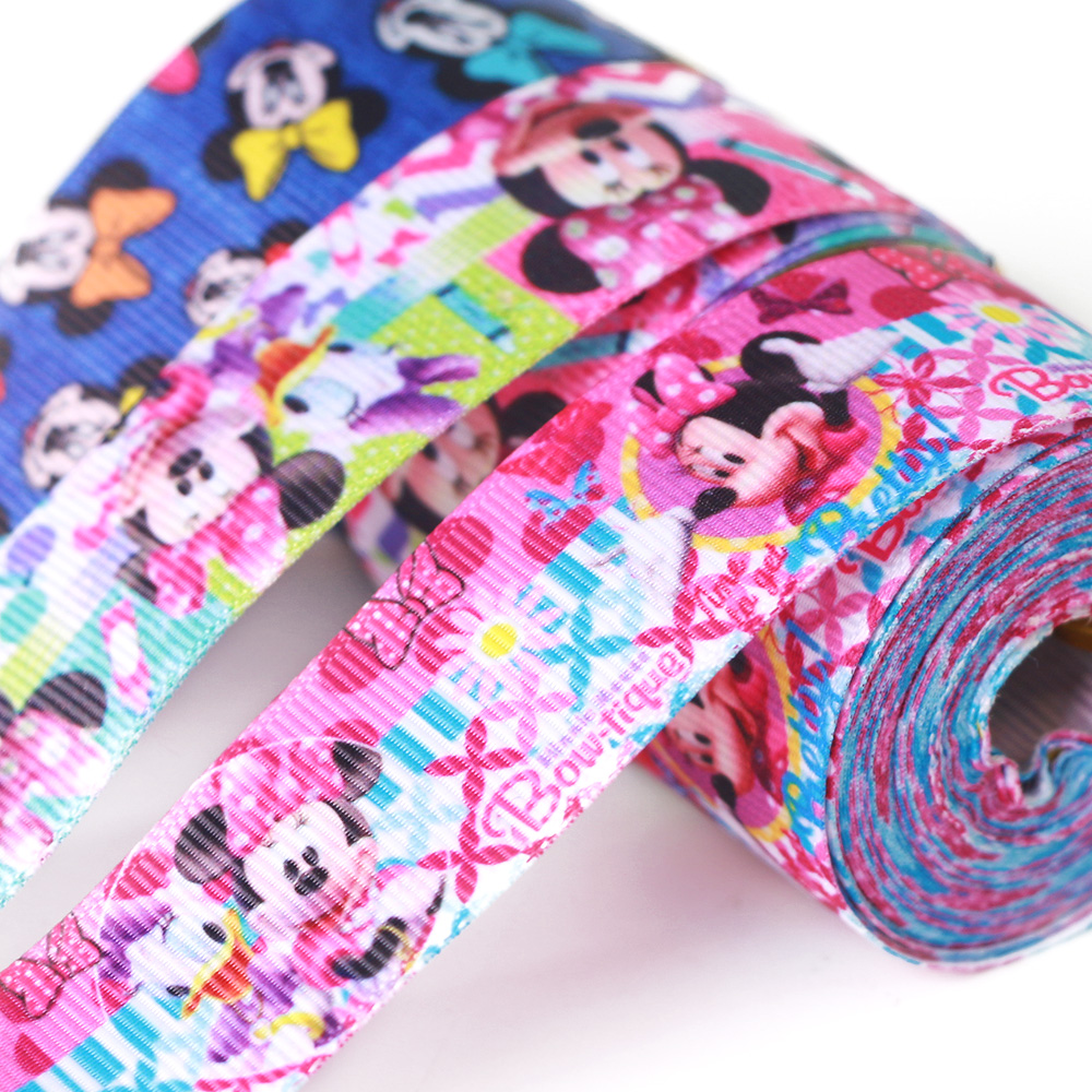 Grosgrain ribbon printed with Disney pattern