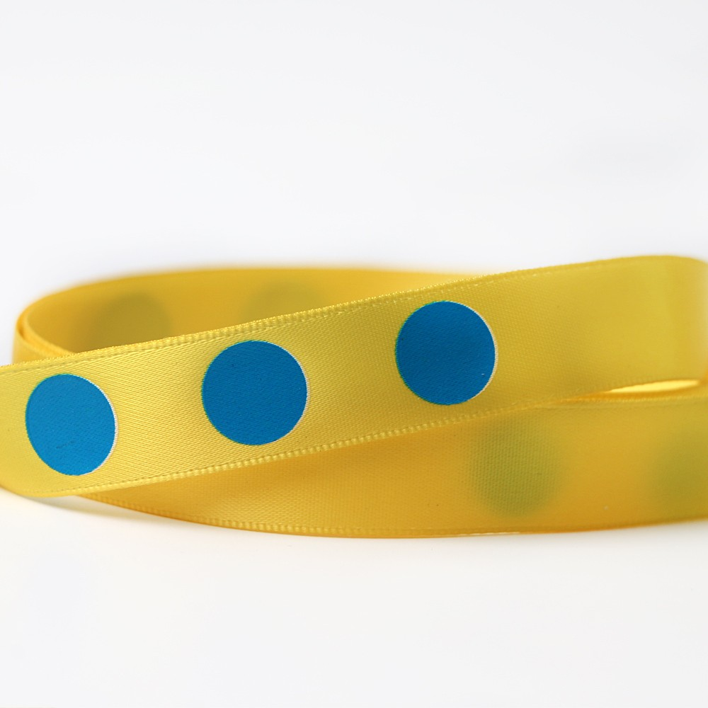 Stock printed ribbon yellow stain ribbon printed with blue dot Manufacturers, Stock printed ribbon yellow stain ribbon printed with blue dot Factory, Supply Stock printed ribbon yellow stain ribbon printed with blue dot