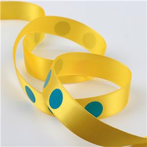 Stock printed ribbon yellow stain ribbon printed with blue dot