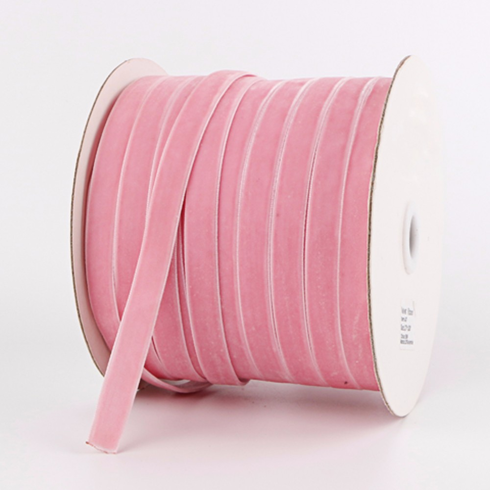 Pink velvet ribbon 100yard roll packed custom ribbon