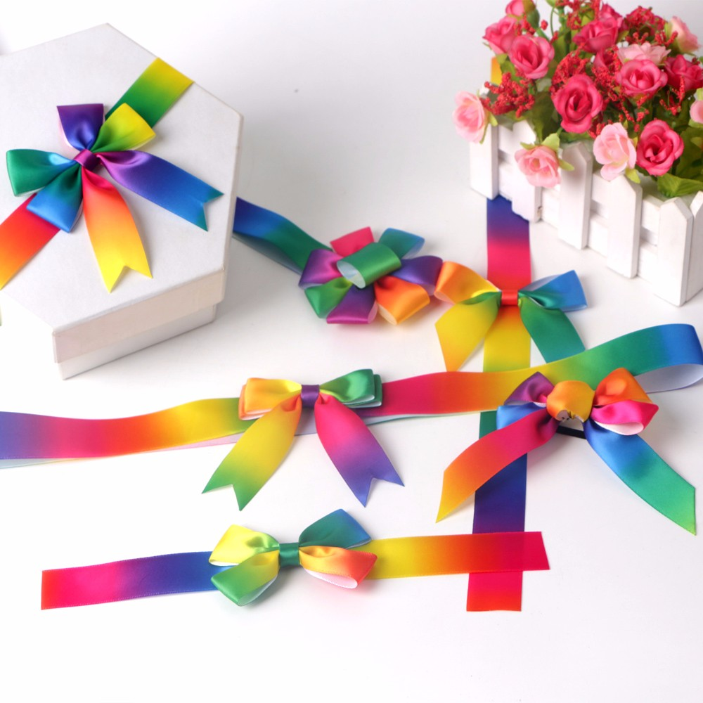 Rainbow satin ribbon fish tail cut elastic ribbon bow gift box packing ribbon bow