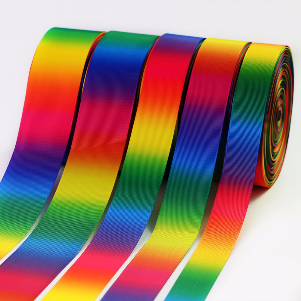 Double faced printed rainbow groagrain ribbon