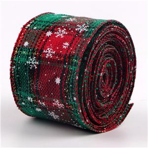Burlap ribbon double side printed for Christmas decoration
