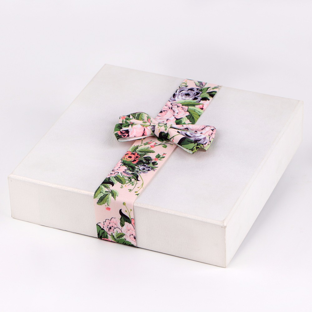 Grosgrain ribbon printed with floral pattern bows for gift box packaging