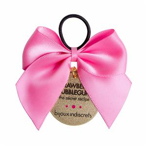 Pink satin ribbon for bows with elastic loop for bottle decoration