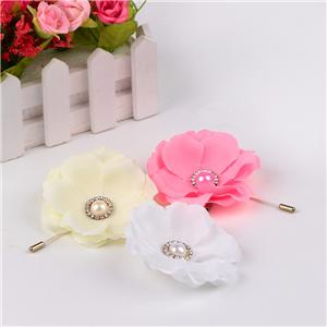 Satin ribbon brooch flowers for women