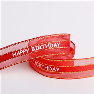 Happy birthday organza ribbon single face printed ribbon