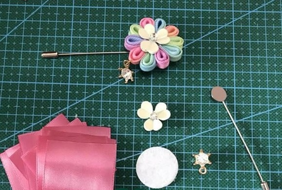 brooch by satin ribbon