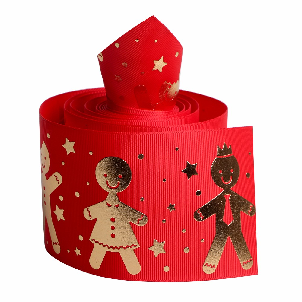 Custom grosgrain ribbon printed with snowman