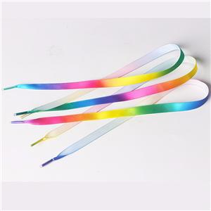 Custom flat rainbow satin ribbon shoelaces wholesale