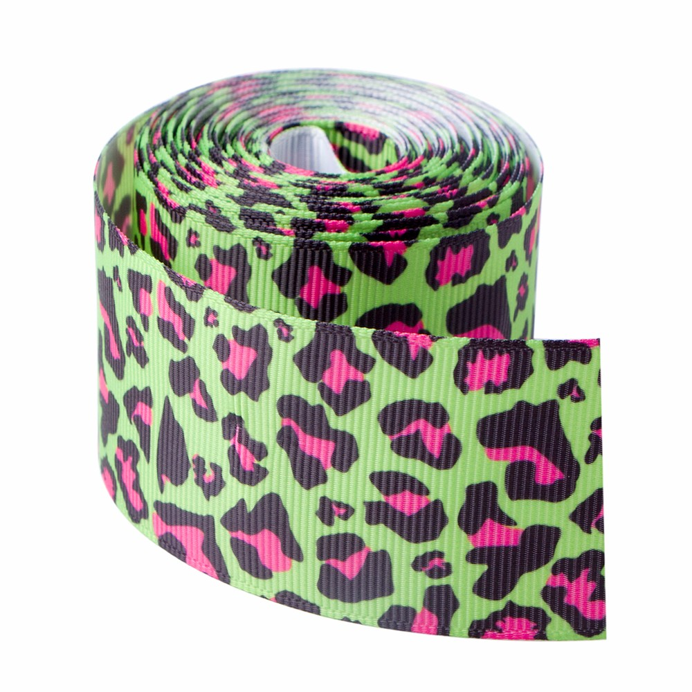Ruban gros-grain imprimé léopard vert sur mesure
