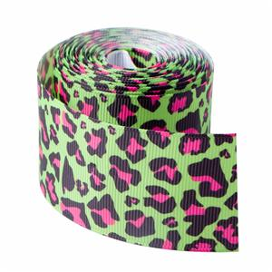 Green Leopard grain printed grosgrain ribbon custom