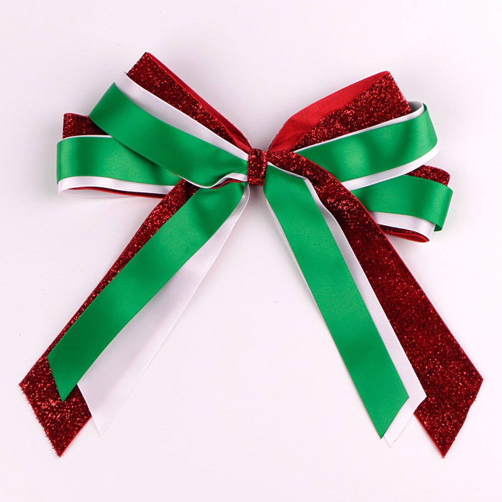 Satin and grosgarin ribbon Christams ribbon bows handmade